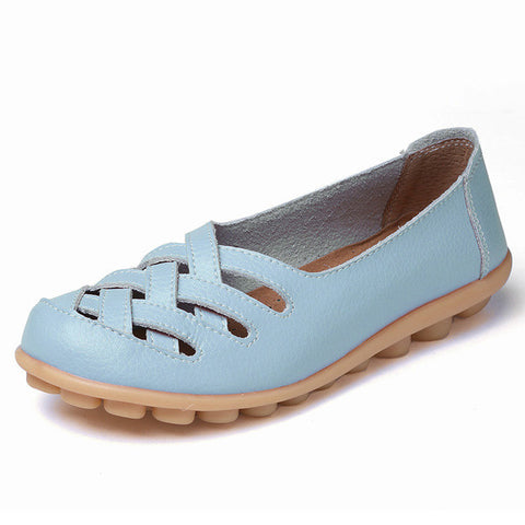 Discounts 2017 Fashion Genuine Leather Casual Loafers Shoes Women Sandals Summer Shoes Flats with Hollow Out Size 34-44 - Raja Indonesia