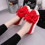 2017 Spring moccasin Womens Fashion Creepers Shoes Bow Women Flats Loafers Ladies Slip On Platform 5CM Shoes Black Red Green - Raja Indonesia