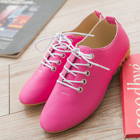 Promotion! 2017 New Women Leather Shoes Woman Black White Supercolor Cheap Ballet Flats Moccasins Casual Loafers Candy Color - Raja Indonesia