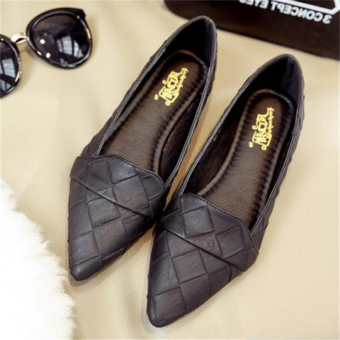MISSC 2017 Fashion Plaid Pattern Women Shoes Spring Autumn Pointed Toe Women Loafers Ballet Flats Lady Slip On Footwear WFS271 - Raja Indonesia