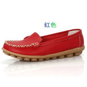 Mother's Leather Shoes Slip-on Ballet Flats Women Casual Flat Comfort Anti-skid Shoes 8 Colors - Raja Indonesia