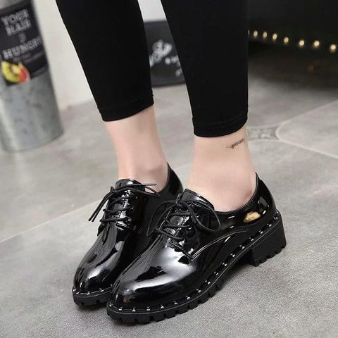 New Arrival Female Shoes Women Silver Oxfords Metallic Silver Shoes Shining Patent Leather Rivets Platform Shoes Vintage Shoes - Raja Indonesia