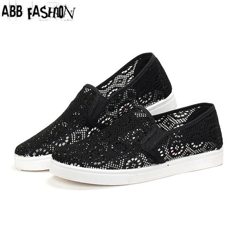 ABB Fashion 2016 Summer Cut-outs Mesh Women Flats Breather Flat With Woman Casual Shoes Black White Ladies Loafers Zapatos Mujer - Raja Indonesia