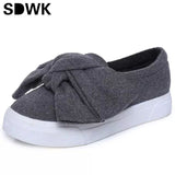 3cm black grey women autumn boots winter Fashion Women Flats Bow slipony Woman Platform Shoes Slip On Espadrilles Shoes Creepers - Raja Indonesia