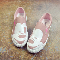 2016 autumn new Korean female low to help single shoes round canvas round flat Mickey female casual shoes   R5 - Raja Indonesia