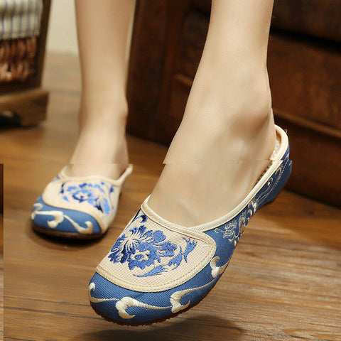 Hot sale Summer Sexy women slippers Chinese embroidery shoes casual home women flower flip flops floral butterfly flat sandals - Raja Indonesia