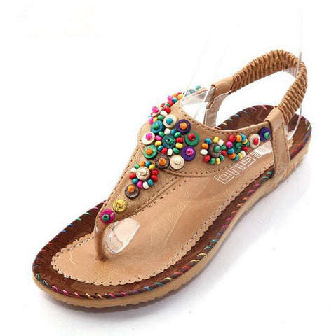 Hot sale 2016 Flat Sandals Fashion Trend Sandals Bohemia National Flat Heel Beaded Female shoes Free shipping - Raja Indonesia