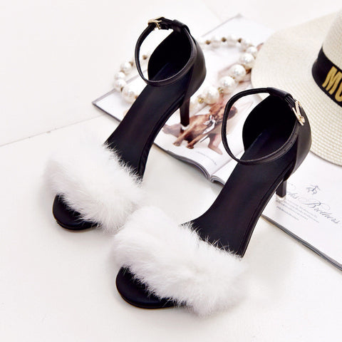 Women Shoes Open Toe High Heels Shoes Woman Fox Fur Sandals Chaussure femme Ankle Strap Sandalias mujer Ladies shoes 2954