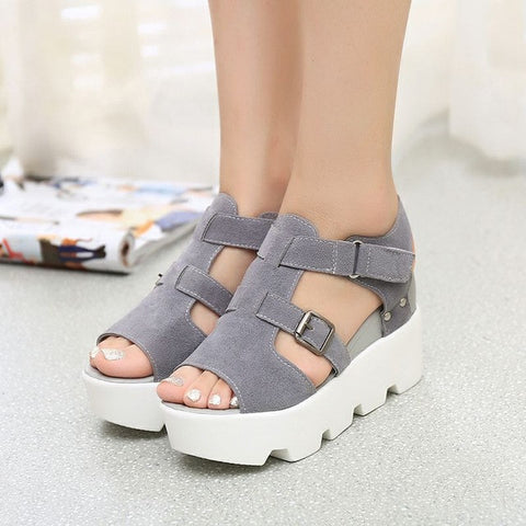 Brand Shoes Woman 2017 New Gladiator Sandals Fashion Summer Shoes Women Buckle Wedges High Heel Open Toe Platform Sandals - Raja Indonesia