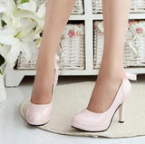 2016 New Candy color Women's pumps Waterproof platform Heels Shoes lace Bow Women Shoes - Raja Indonesia
