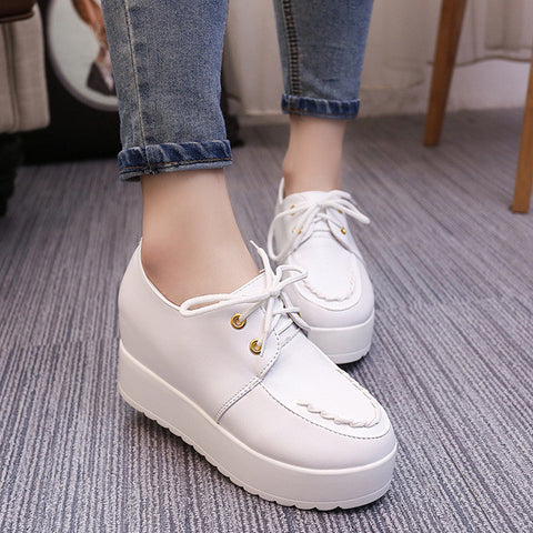 Autumn Women Casual Wild Heavy-bottomed Breathable Lace-up Rivets Breathable Increasing Single Harajuku Platform Shoes 40 - Raja Indonesia