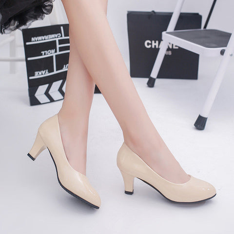 2017 new fashion woman shoes Working high heels Bow wedding shoes Black and white patent leather shoes pumps - Raja Indonesia