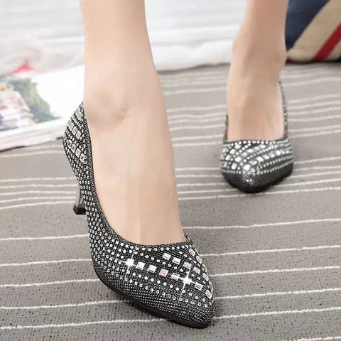 Women Wedding Shoes Rhinestone High Heels Pumps Pointed Toe White Sequined Office Lady Woman Dress Shoes Crystal Boat Shoes 2916