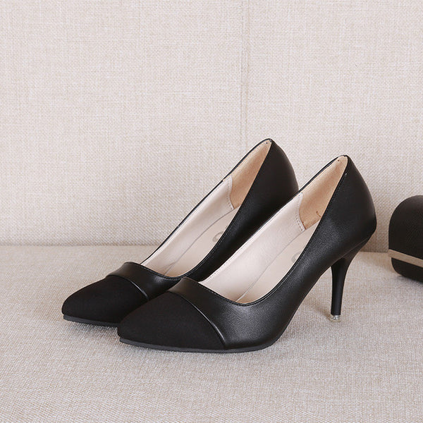 2017 Spring Woman high Heels Shoes Patchwork Pumps Ol office dress Shoes Women Basic Pump Ladies Shoes Zapatos mujer Black 3147 - Raja Indonesia