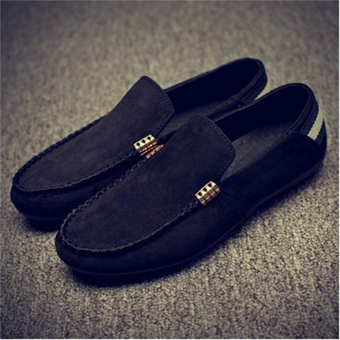 LIN KING New Men Flat Shoes Slio-on Solid Round Toe Flock Leisure Simple Shoes Massage Soft Autumn Outdoor Walking Single Shoes - Raja Indonesia