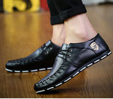 2017 New Mens Breathable Microfiber Leather Men'S Casual Shoes British Business Men Black Blue White Leather Zapatos hombres - Raja Indonesia