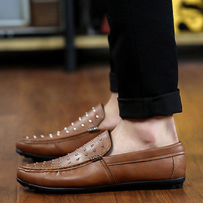 Breathable Lazy Men's Shoes Slip-On Driving Shoes For Male Doug Shoes With Rivets High Quality Fashion Loafers c172 15 - Raja Indonesia