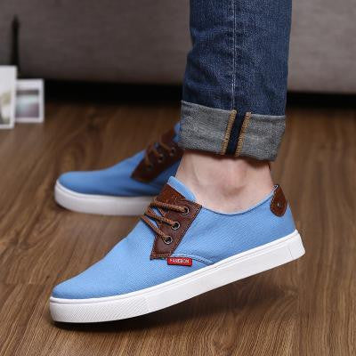 New Spring 2016 Fashion Men Canvas Shoes Casual Mens Shoes Classic Lace Up Flat Shoes Free Shipping Men Flat Shoes - Raja Indonesia