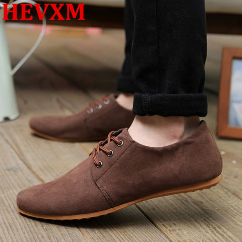 HEVXM EUR 39-46 Hot Spring Autumn Fashion Men Shoes Mens Flats Casual Suede Shoes Comfortable Breathable Flats Driving Loafers - Raja Indonesia