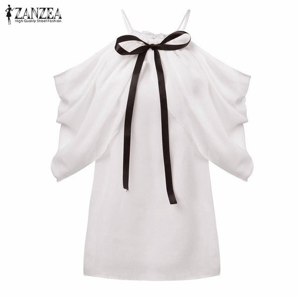 2017 Summer Style Halter Neck Bowknot Shirts Elegant ZANZEA Women Blusas Sexy Off Shoulder Blouses Casual Slim Chiffon Tops - Raja Indonesia