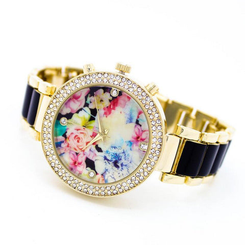 2017 New Design Fashion Flower Printing Bracelet Watches For Women Charm Brand Female Dress Watches With Rhinestone - Raja Indonesia