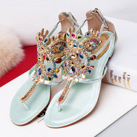 2016 Summer Style Rhinestone Shoes Women Diamond Roman Sandals Women Flip Flop Women Waterproof Elegant Sapatos Femininos - Raja Indonesia