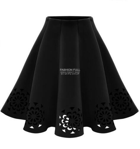 2016 New Autumn Winter Fashion Women's Solid Burning flowers Hollow Out Tutu skirts Casual Vintage Elegant Midi Skirt - Raja Indonesia