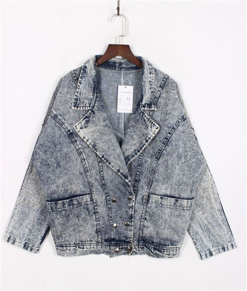 2016 Fashion Vintage Gray Washed Denim Coat Foe Women Bat Sleeved Double Breasted Jean Jackets Casacos Femininos C3018 - Raja Indonesia
