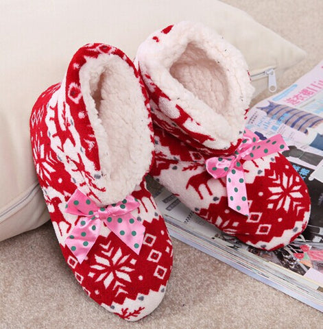 Free Shipping New Winter Warm Cotton shoes. Men Women Home Padded Shoes Indoor Shoes. Reindeer Pattern Foot Warmer Short Boots - Raja Indonesia