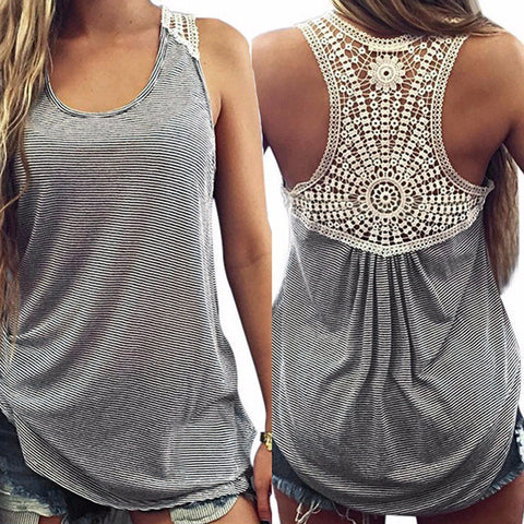 2017 Summer New Fashion Women Sexy Casual Solid Lace Vest Sleeveless Casual Tank Loose  Tops Stripe T-Shirt Free Shipping - Raja Indonesia
