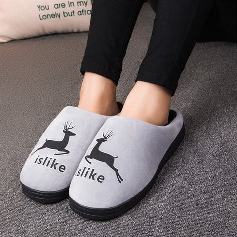 JIANBUDAN 2017 new winter high quality cotton shoes men and women indoor warm slippers non-slip mute home cotton drag - Raja Indonesia