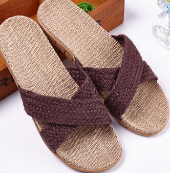 2017 EU US Arab Regal Fashion Men Casual Linen Hemp Slippers Blue Cross Strap Splice EVA soft Bottom Quick Drying Massage Slides - Raja Indonesia