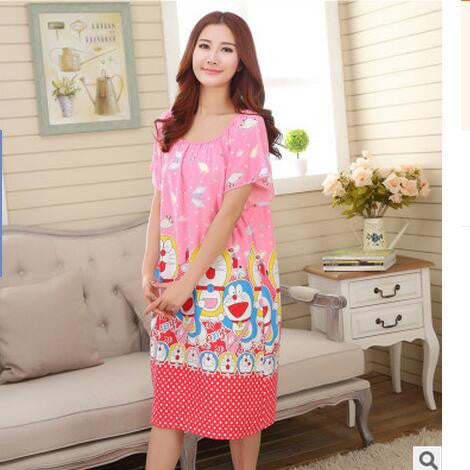 New Nightdress Short Sleeve Loose Summer Nightgown Female Dressing Gowns For Women Sleepwear Night Shirts Plus Size XXL E0163 - Raja Indonesia