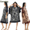RB062 2017 Fashion Satin Silk Women Loose Painted Loungewear Half Bat Sleeve NightSkirt One Piece Homewear Plus Size Nightgown - Raja Indonesia