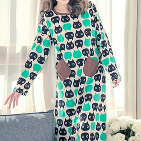 2017 New Womens Print Cartoon Nightdress Spring Long Sleeve Kawaii Sleepwear Round Neck Casual Home Dress Robe Gown Plus Size - Raja Indonesia