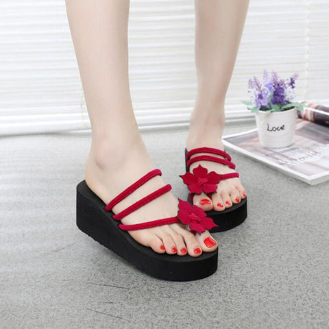 bdc42c9db Sweet Beauty Platform Women Flip Flop High Heel Shoes RED Flowers Wedge  Fashion Thong Summer Sandals