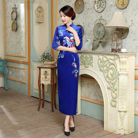 Dress Wanita Warna Biru Motif Bunga