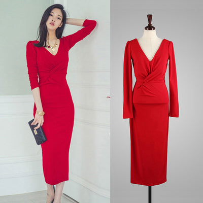 TUHAO 2018 New spring Autumn Office Lady's Dress Solid party red woman dresses O-Neck Mid-Calf  Women Dresses QH41