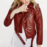 2016 New Fashion Women Wine Red Faux Leather Jackets Lady Bomber Motorcycle Cool Outerwear Coat with Belt Hot Sale - Raja Indonesia
