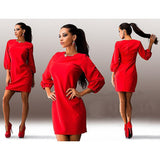 2016 NEW female Mini dress  women  Casual dress Straight Lantern Sleeve solid color Three Quarter o-neck Above Knee LQ8903M - Raja Indonesia