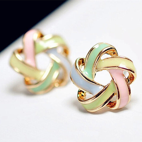 2016 New Fashion Novel Jewelry Color Stripe Earrings For Women Trendy Brincos Pequenos Stud Earrings E259 - Raja Indonesia