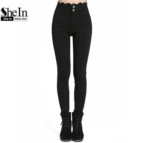 Celana wanita  Newest Women's Fashionable Pockets Button Fly Black Scalloped Skinny Pants - Raja Indonesia