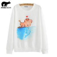 2016 New spring Hoody women Casual hoodies cat kiss fish print tracksuit long sleeve o neck letters sweatshirt for women Top - Raja Indonesia