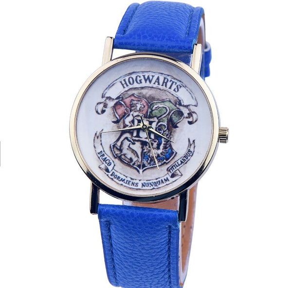 2016 New Harry Potter Hogwarts School Design Magic School Watch, Hogwarts Magic Pattern Badges Leather Watch Unisex Watch - Raja Indonesia