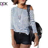 2016 Spring New Arrivals Fashion Blue and White Round Neck Long Sleeve Striped Loose Tops Womens Casual Simple T-Shirt - Raja Indonesia