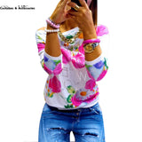 2016 Fashion Autumn Women Girl Long Sleeve Floral Print T Shirts Crew Neck Casual Tops - Raja Indonesia