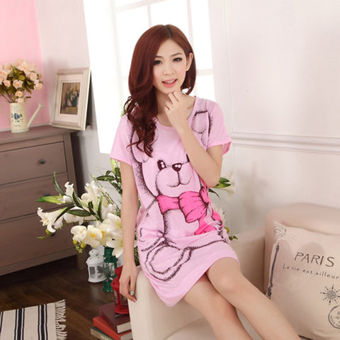 2016 Summer Women's Nightgowns Sleeveless Short-sleeve Dress Cute Girls Sleepwear Cartoon Bear Printed Sleepwear Free Shipping - Raja Indonesia