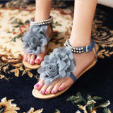 Big size 34-43 2016 Gladiator Sandals for Women Bohemia Beaded Summer Flower Flat Heels Flip Flops Women's Shoes Tstraps Sandals - Raja Indonesia