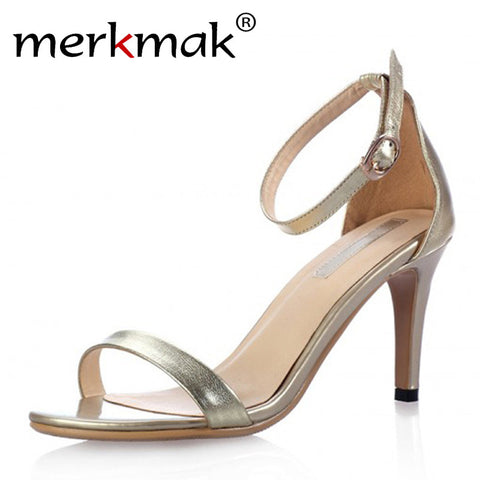 New 2016 Summer Vogue Gold Silver Women Clasic Dancing High Heel Sandals Party Wedding Shoes for Ladies Office Work Thin Heels - Raja Indonesia