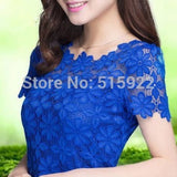 2015 New Short Sleeve Tee Shirt Top For Women Clothing Women Lace Blouse Sexy Floral Sheer Blouses M-5XL blusas femininas 945 - Raja Indonesia